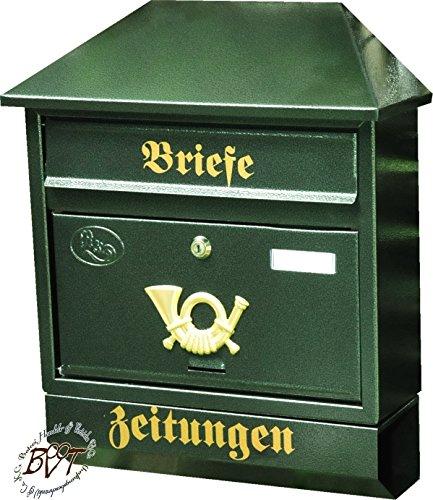 Großer Briefkasten, verzinkt mit Rostschutz Walmdach W/gr grün dunkelgrün moosgrün Zeitungsfach Zeitungsrolle Postkasten NEU