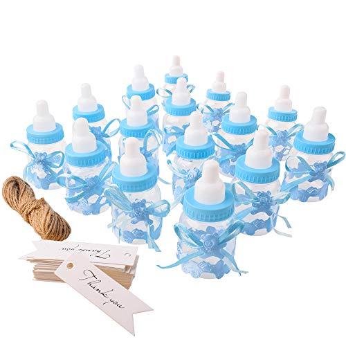 Gudotra 125packs 24pcs Biberones Bautizo Plastico Azul Botella Dulces+100pcs Tarjetas Blanco+10 Metros Cuerda de Yute para Recuerdo de Bautizo Baby Shower