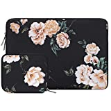 MOSISO Laptop Custodie Morbide Borsa Compatibile con 13-13,3 Pollici MacBook PRO,MacBook Air,Notebook,Idrorepellente Neoprene Manicotto con Piccolo Caso,Peonia Nera