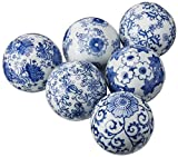 Oriental Furniture 3-Inch Blue and White Decorative Porcelain Ball, Set of 6