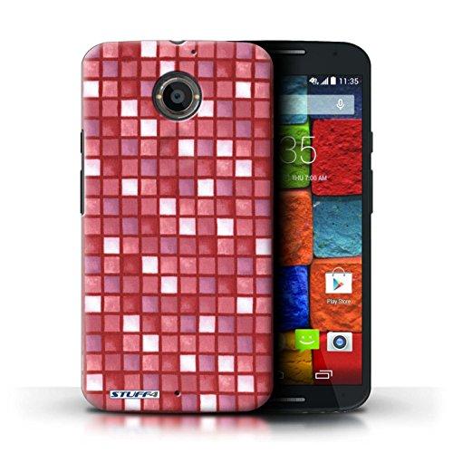 Kobalt® Imprimé Etui / Coque pour Motorola Moto X (2014) / Rouge/Rose conception / Série Carreau Bain Rouge