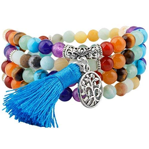 0db13ceba261d mookaitedecor Tibétain Mala Bracelet 108 Perles Pierres Élastique Collier  Bouddhistes 7 Chakra,Amazonite