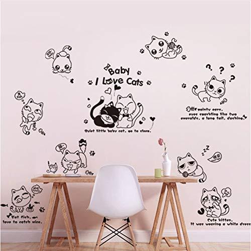 Meaosy Diy Wohnkultur Niedlichen Gesicht Katze Wandaufkleber Für Kinderzimmer Baby Home Interior Dekoration Aufkleber Infantiles (Für Gesicht Halloween Katze Diy)