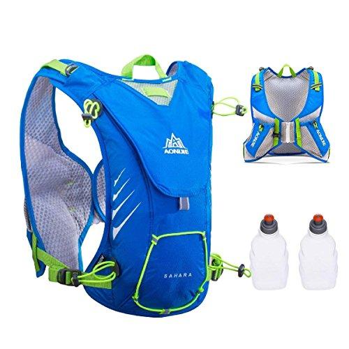 triwonder 8L profesional al aire libre mochilas Trail Marathoner Running race chaleco de hidratación sistema de hidratación mochila - OS1511BE, Large, Blue - with 2 Water Bottles