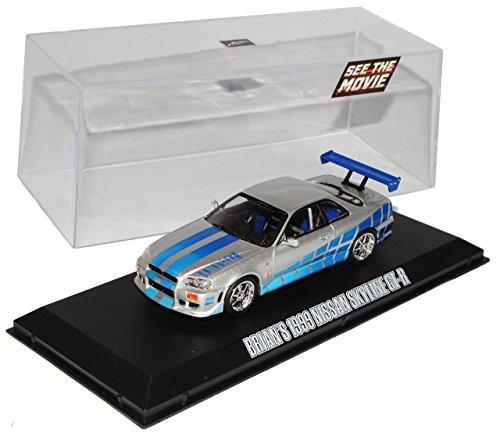 Nissan-Skyline-R34-GT-R-Silber-1998-2002-Brian-O-Connor-Fast-and-Furious-143-Greenlight-Modell-Auto-mit-oder-ohne-individiuellem-Wunschkennzeichen