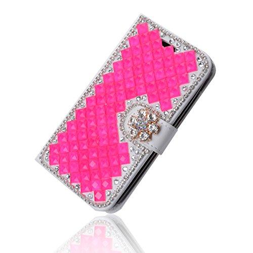iPhone SE Coque, iPhone SE portefeuille Coque, Lifeturt [ Note de musique ] Livre cuir de qualité supérieure Wallet Case Cover pour iPhone SE E02-12-Rose Diamant