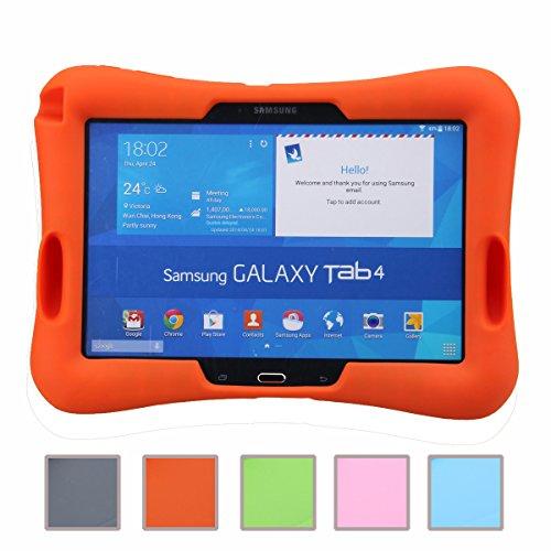 NEWSTYLE Samsung Galaxy Tab 4 10.1 Kinderfreundliche Silikon Hülle Schutzhülle Tasche Case für Samsung Tab 4 SM-T530/T531/T535 Tab 3 GT-P5200 P5210 P5220 (10,1 Zoll) - Orange (Case Galaxy Tab Kind 4)