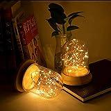 lā Vestmon USB Lanterne en argent Lampe de chevet Lumière LED décoration noël Atmosphère romantique Photophore LED en verre Guirlande Lumineuse à Piles chambre bureau nuit lampe