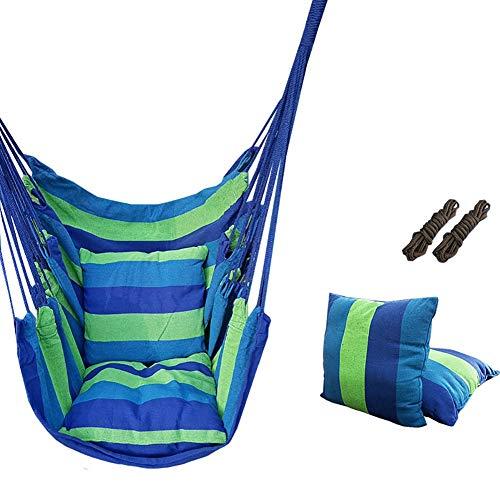 Nestschaukel YXX Hängende Schaukelstühle im Freien mit 2 Sitzkissen - Hängesessel für Terrasse, Veranda, Schlafzimmer, Garten, Innen- oder Außenbereich (Color : Green)