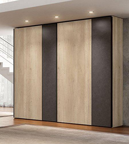 Schrank Türen Schiebetür Farbe natur und grau dunkel TOS _ 04–Einsätze in Glas