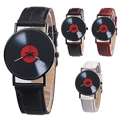 Mode Vinyl-Schallplatte Armbanduhren, Zarupeng Unisex Retro Lederband Analoge Uhren Legierung Quarzuhr Gürteluhr mit Schwarz Ziffernblatt von Zarupeng_3767 bei Heizstrahler Onlineshop