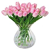 MEIWO Künstliche Tulpen, 10 Stück Real Touch Latex Künstliche Tulpen Blumen in Vasen für Hochzeit Sträuße/Home Dekor/Party / Graves Arrangement(Rosa)