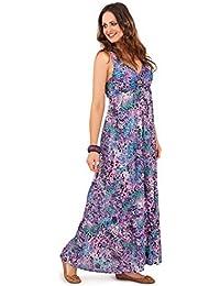 Maxi Vestido floral de algodón para Dama Pistachio con Tirantes