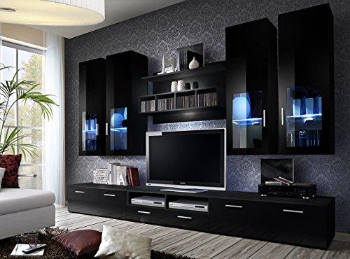 Unbekannt BMF Lyra deutschen Stil Moderne Matt & Entertainment Wohnwand–Hochglanz Wohnzimmer/Schlafzimmer/Studio flach–Möbel Set–LED Cabinets–nur BMF. schwarz (Entertainment-tv-ständer-set)