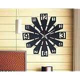 Daedal - Box Square Clock Wooden Black Quartz Wall Designer Clock Battery Powered(30 Cm * 30 Cm * 5 Cm)Da23Bl