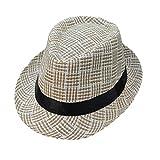 Lonshell_Damen Cap Fedora Hut Damen Herren Panama Sonnenhut Faltbarer Strohhut Trilby Gangster Hut mit Sonnenschutz breite Krempe (Kariert C)