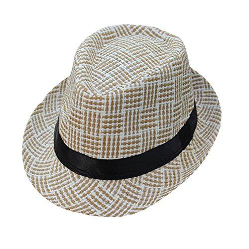 Lonshell_Damen Cap Fedora Hut Damen Herren Panama Sonnenhut Faltbarer Strohhut Trilby Gangster Hut mit Sonnenschutz breite Krempe (Kariert C) (Herren Fedora-hut Beige)
