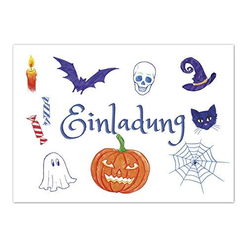 16 Halloween Einladungen - Gezeichnete gruselige Objekte - Tolle Einladungskarten für die Halloween-Party für Kinder und Erwachsene