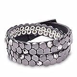 Tamaris C03030060 Damen Armband Leder mehrreihig Nieten- & Steinchenverzierung, Groesse OneSize, schwarz