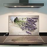 DAMU | Ceranfeldabdeckung 1 Teilig 80x52 cm Herdabdeckplatten aus Glas Blumen Violett Elektroherd Induktion Herdschutz Spritzschutz Glasplatte Schneidebrett
