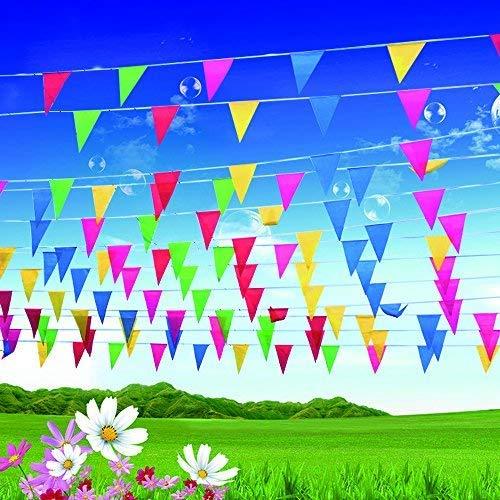 51ZKerIL5wL - EDATOFLY 240M Multicolor Bandera banderín 450 Banderas banderines de Nailon Guirnalda de triángulo Decoraciones Banderas para Boda Decoracion cumpleaños Fiesta al Aire Libre jardín