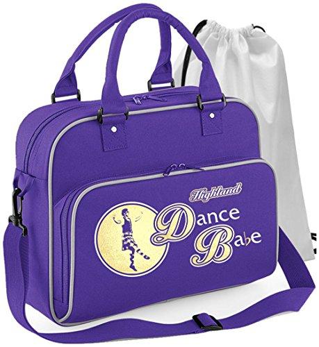 MusicaliTee Scottish Highland Dancing - Dance Babe - Purple Lila - Tanztasche & Schuh Tasche Dance Shoe Bags
