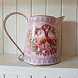 Deko-Herz pink flamingo Metall Chic N Shabby Krug mit Rosen Getrocknete Blumen