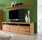 trendteam smart living Wohnzimmer Lowboard Fernsehschrank Fernsehtisch Zino, 178 x 59 x 50 cm in Korpus Kernbuche (Nb.), Front Kernbuche Massiv mit drei offenen Fächer Vergleich