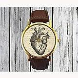 Orologio da donna con cinturino in ecopelle e cuore stampato sul quadrante, ottima idea regalo, Marrone, For Lady