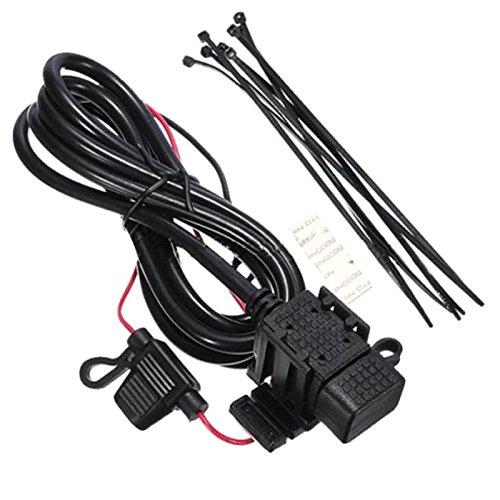 Potencia impermeable - SODIAL(R) 12v Cargador adaptador de enchufe de potencia USB de motocicleta impermeable Salida motocicleta Negro