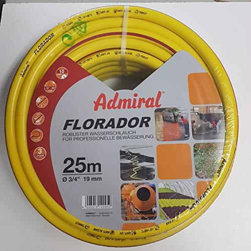 Florador Premium Gartenschlauch Länge: 25m Durchmesser: 19mm 3/4 Zoll Wasserschlauch mit Trikotgewebe | knickfrei | verdrehungsfest