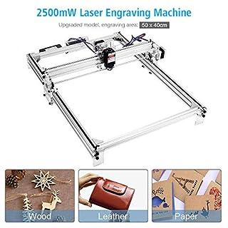 TOPQSC 50x40 cm CNC Laser Graviermaschine Kit, DIY Desktop Drucker Logo Bild Kennzeichnung Drucker, 12 V USB Holzschnitzerei Gravur Schneidemaschine (2500 mW)