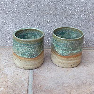 Pair of whisky tumbler or espresso coffee cup small mug handthrown stoneware pottery handmade wheel thrown ceramic