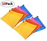#8: Pack Of 10 Double Layer Zippered Mesh File Bags PVC Waterproof Paper Bag for Office Document Stationery Storage, Cosmetics, Travel Accessories (26.5cm x 20cm)