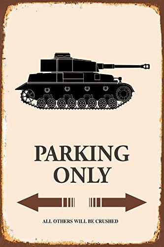 ComCard Panzer Tank Parking only Park Schild tin Sign Schild aus Blech Garage