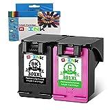 QINK 2PK Cartucho de Tinta HP 301XL Remanufacturado Mostrar Nivel de Tinta preciso CH563EE CH564EE...