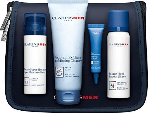 Clarins Men Grooming essientials Set Regalo-umidità balsamo + 2in 1Esfoliante Detergente + Rasatura Gel + Anti fatige Eye Serum + Free Borsa Toilette