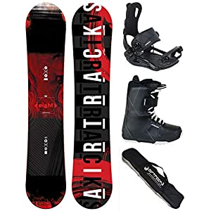 Airtracks Snowboard Komplett Set – EIGHT Snowboard Rocker Wide + Snowboardbindung Master FASTEC TM + Snowboardboots + SB Bag / 150 155 160 164 / cm