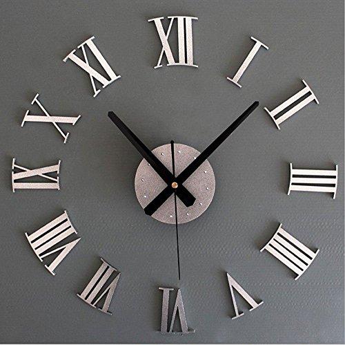 Asvert orologio a parete effetto 3d adesivi da parete per casa ufficio hotel ristorante fai da te con numeri romani