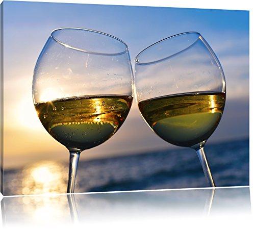 Weingläser im Sonnenuntergang am Meer Bild auf Leinwand, XXL riesige Bilder fertig gerahmt mit...