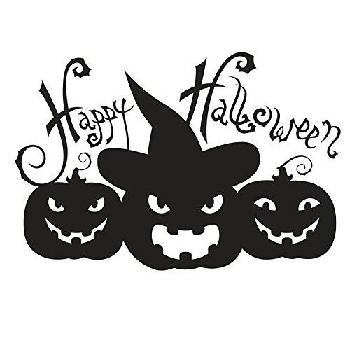 lueckliche Halloween Kuerbis Gesichts Wand Abziehbild Halloween Wand Aufkleber: Schwarz (Kürbis Glückliche Gesichter)