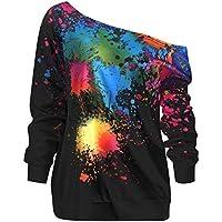 Darringls_camisetas Cortas Mujer,Blusa Moda para Mujer Cuello Sesgado Manga Larga Pintura Salpicadura Sudadera con Estampado Top Blusa