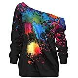 IMJONO top Bluse mit Spitze,2019 Jubiläumsfeier Mode Frauen Skew Neck Langarm Farbe Splatter Print Sweatshirt Top Bluse