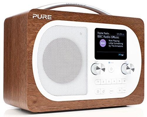 Pure Evoke H4 Digitalradio (DAB+, DAB, UKW, Bluetooth, Sleep-Timer, Weckfunktion, Schlummerfunktion, Countdown-Timer, 50 h Akkulaufzeit, Streaming, Farbdisplay, AUX), Walnuss