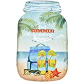 Dadeldo Living & Lifestyle Holzschild Glas Beach Flip Flops Design MDF 24x15cm bunt Wand-Bild Deko