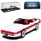 alles-meine GmbH Chevrolet Chevy Corvette C4 Coupe Weiss mit Roten Streifen Rot 1983-1996 A-Team 1/43 Greenlight Modell Auto