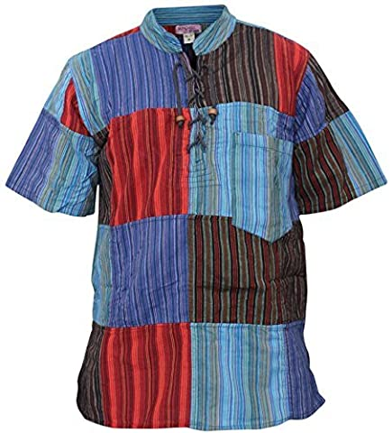 Mens Half Sleeve Patch Hippie Grandad Shirt (3XL,Stripe Patchwork)