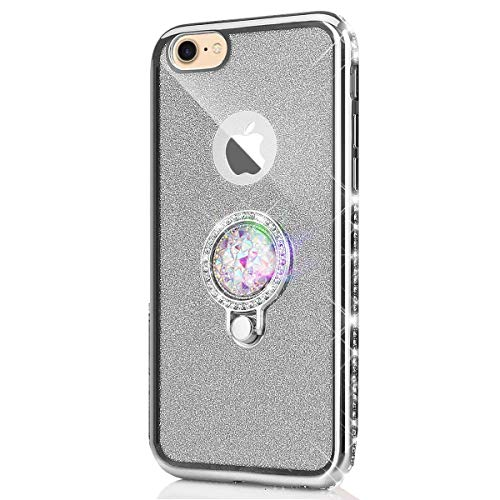kompatibel mit iPhone 5S Hülle,iPhone SE Hülle,[Ring Ständer] Glitzer Diamant TPU Silikon Hülle Kristall Strass Bumper Silikon Handytasche Handyhülle Schutzhülle für iPhone SE/5/5S,Silver -