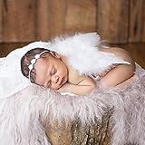 HENGSONG Baby Neugeborene Fotoshooting Kostüm Engelsflügel Fotografie Prop Engel Feder mit Blumen Haarband