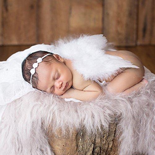 HENGSONG Baby Neugeborene Fotoshooting Kostüm Engelsflügel Fotografie Prop Engel Feder mit Blumen Haarband (Lange Engelsflügel Kostüm)